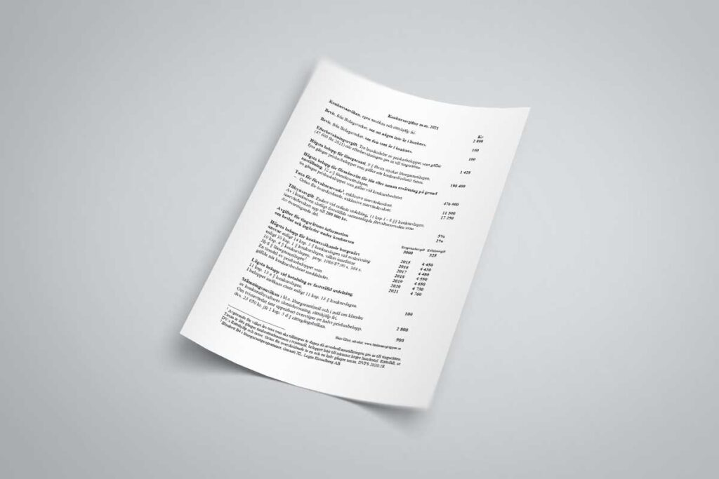 vitt papper med text och belopp